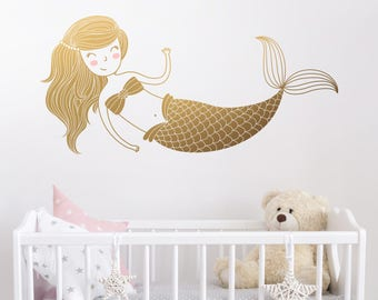 Mermaid Wall Decal - Kids Room Decal,  Nursery Decal, Removable Wall Sticker, Cute Mermaid Wall Art, Vinyl Decal