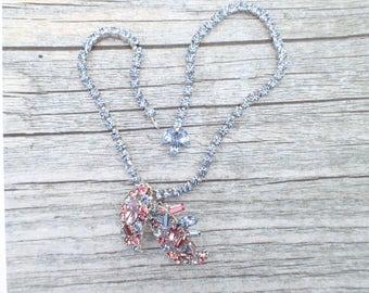 Vintage Signed Marvella Pink and blue rhinestone necklace AC086