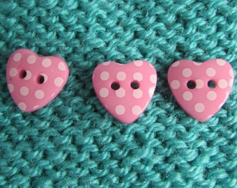 Pink Hearts with White Spot Buttons