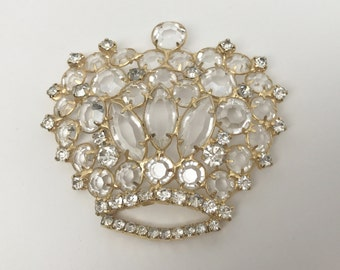 Vintage Brooch Pin Open Back Clear Crystal Rhinestone Large Crown