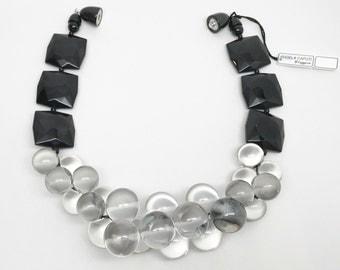 Angela Caputi Italian Designer Large Black & Clear Lucite Necklace