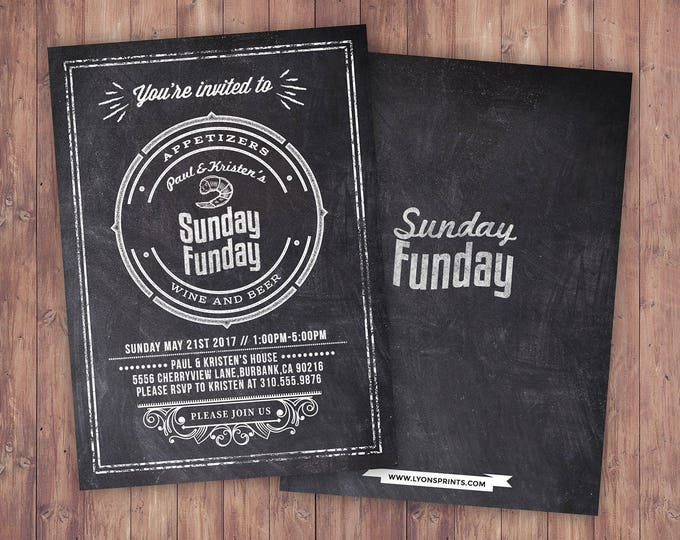 Sunday Funday, Cheers and Beers invitation, football, 21st, 30th, 40th, 50th, 60th, Surprise Birthday Party Invitation,  invite, football
