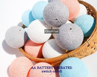 20 Cotton Ball LED String Lights AA Battery Operated, Wedding, Patio Party, Fairy, Outdoor