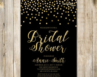 Black Gold BRIDAL SHOWER Invitation, Gold Confetti Couples Shower Invite, Printable Wedding Shower, Shimmer Bridal Tea Brunch Bubbly LA20