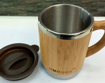 10oz  Mug Double Walled Bamboo And Stainless Steel Insulated With Lid, personalized gift, Mother's Day, Father's Day, Teacher, Graduation