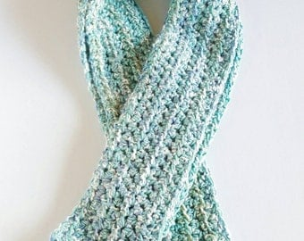 Crocheted handmade winter scarf, extra long.
