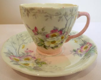 Vintage Coffee Cup or Dainty Teacup, Old Royal China by Sampson Smith. Hand Painted in Green and Pink with Wild Roses. Great for a Tea Party