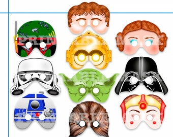 Unique Comic Star Wars Printable Masks, party mask, birthday, superhero mask, paper masks, photo booth props , kids dress up play, Diy
