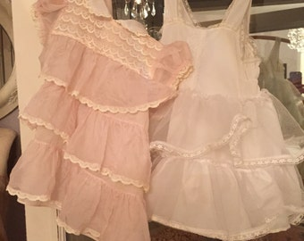 Vintage Pink Child's Dress And Ruffled Slip