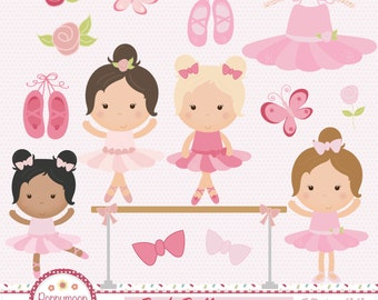 Pink ballerinas, ballet shoes and roses, commercial and personal use, digital clip art set