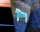 Porcelain horse pin  gift for horse lover  Scandi style horse brooch  Swedish horse gift  ceramic horse  Scandi horse  horse jewellery