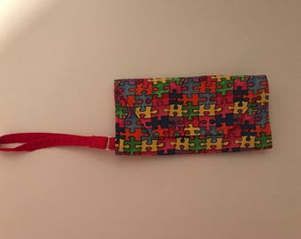Autism Awareness wallet, puzzle wallet