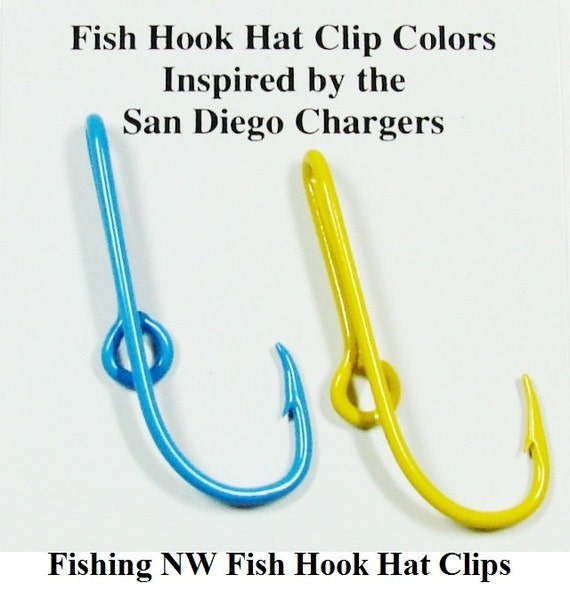 San diego chargers inspired colored fish hook hat by fishingnw for Fish hook on hat