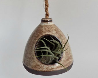 Ceramic Hanging Planter - Rustic Indoor Planter - Wheel Thrown Pottery - Handmade Stoneware Planter - Black Clay Succulent Planter - Pottery