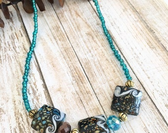 Funky Blue Java Statement Necklace, Beaded Necklaces, Handcrafted Gift Ideas, Gifts for Her, Blue Necklaces