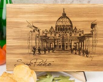 Basilica di San Pietro in Vaticano lineart, San Pietro theme cutting board, Vatican skyline gift, San Pietro Basilica cutting wooden board