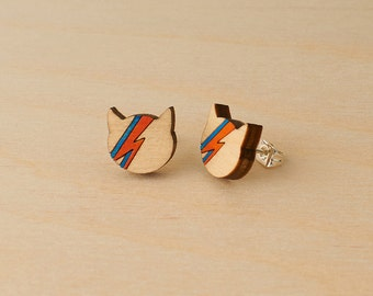 David Bowie studs - Ziggy Stardust cat - Aladdin Sane cat earrings - Bowie fan gift - Minimal studs - cat lover earrings - Hand painted wood