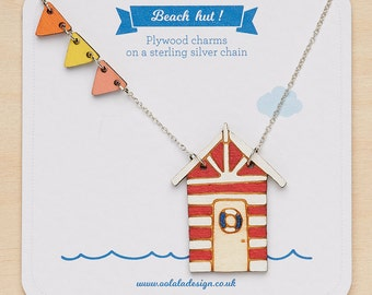 Beach hut Necklace - Beach hut jewellery - nautical necklace - bunting necklace - seaside necklace - gift for beach lover - seaside - navy