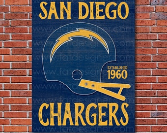 San Diego Chargers - Vintage Helmet - Art Print - Perfect for Mancave