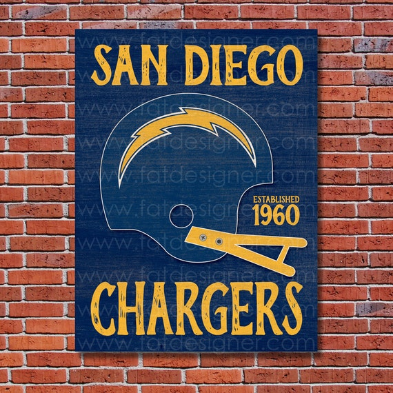 San Diego Chargers Drawings: San Diego Chargers Vintage Helmet Art Print Perfect For