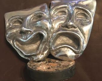 Theatre masks sculpture/paperweight! Made in Brazil!