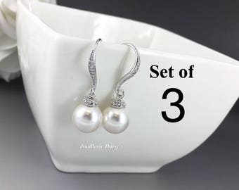Set of 3 Wedding Earrings Dangle Earrings Swarovski Pearl Earrings Bridal Earrings Bridesmaid Earrings Bridal Jewelry Maid of Honor Gift