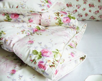 NEW Traditional Handmade Eiderdown Feather & Down Natural Comforter Blanket Quilt Cream Pink Roses