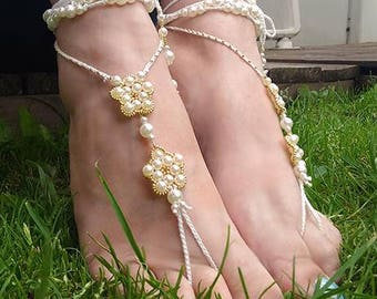 Barefoot white sandals summer ankle jewellery