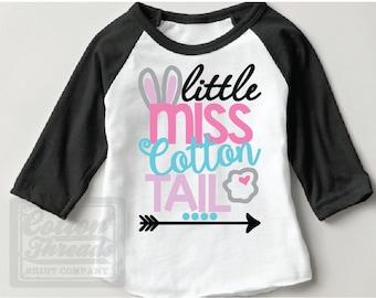 Girls Easter Shirt, Little Miss Cotton Tail Raglan