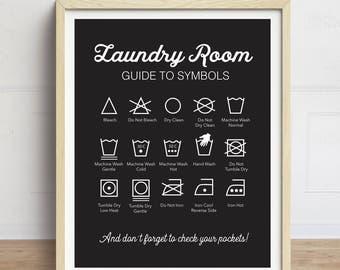 Laundry Symbols Print, Laundry Instructions, Washing Instructions, Laundry Room Art, Laundry Sign, Black and White