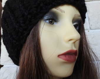 Hand Knitted Black Winter Hat With Black Pompom - Free Shipping