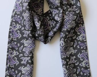 "Charcoal grey & purple Paisley Hand printed Silk Scarf 52"" X 6"" New, hand made"