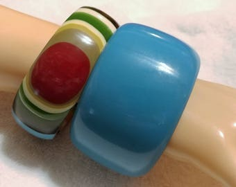 2 pc.Thick Blue and Multi Colored Striped Lucite Bangle Bracelets