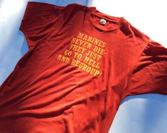 Vintage 1987 Marines shirt screen stars MEDIUM