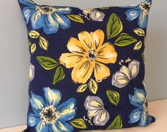 Outdoor pillow. Blue & yellow floral outdoor throw pillow cover. Spring Summer 18x18 Colorful Flower pillow, Pillow for patio, porch, deck