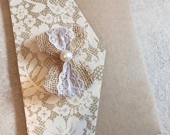 Vintage | Hessian Bow | Doily Print | Kraft Card | Wedding Pocketfold Invitation