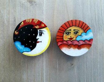 Sun and Moon, Wooden Brooch, Moon Brooch, Sun Brooch, Moon Jewelry, Sun Jewelry, Gift For Her, Wooden Jewelry, Painted Brooch, Wood Jewelry
