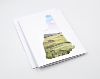 New Hampshire State Art Card - New Hampshire Art - Watercolor Notecard - Unique Notecard - New Hampshire Gift  - Blank Notecards