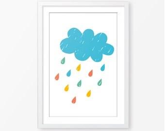 Cloud poster,kids room decor,nursery printable,digital file,kids poster,colorful,modern print,nursery poster,nursery decor,baby wall art