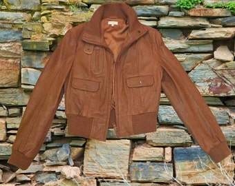 Vintage brown KOOKAI 100% leather jacket. RRP: 210 pounds. Size 10