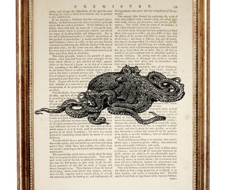 Vintage Octopus wall art decor, Octopus Art Print, octopus black n white Dictionary Poster, Wall Decoration, Book Page Print