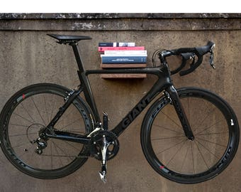 Bike Book Shelf / Solid Oak / Holder / Bike Rack / Bicycle Accessories / Bicycle Storage / Steel Shelf/ Bike Mount/ Bike Hanger/ Oak Shelves