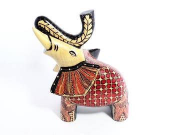 Wood Batik Collectible Angry Elephant Figurine Nice Colors and Details Home Accent
