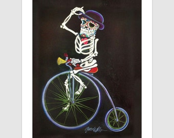 The Bone Rattler 11x14 Signed Day of the Dead [Dia De Los Muertos]  Print by NM artist Sean Wells// Day of the Tread