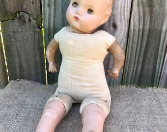 Composition Doll / Old Baby Doll / File Under: Creepy Oddities and Charming Relics