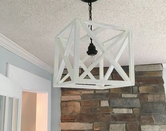 Handmade wooden cube pendant light