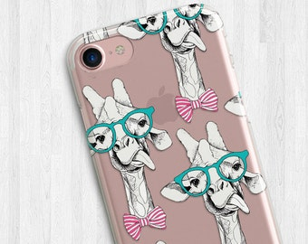 Giraffe Hippie Animal Clear Case For iPhone 6s, iPhone 6 Plus, iPhone 7 case, giraffe, Galaxy S6, S7 Edge, giraffe iphone case