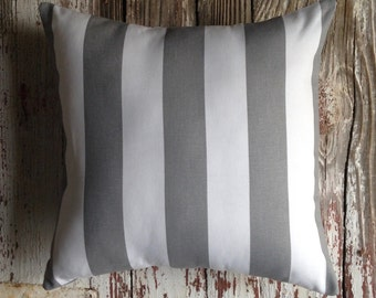 awning stripe pillow cover gray & white