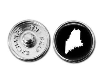 Maine charm, Maine jewelry, Maine map charm, snap button jewelry, button snap jewelry, button jewelry, snap charm jewelry