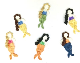 Custom Crochet Mermaid Appliques | Crochet Ocean or Sea Embellishments